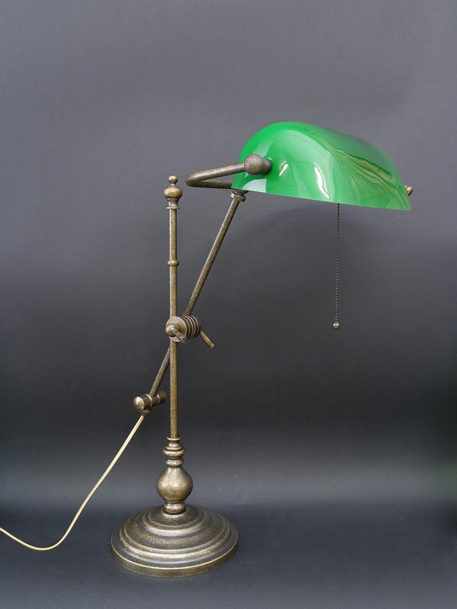 hochwertige bankerslampe aus messing br niert lampen. Black Bedroom Furniture Sets. Home Design Ideas