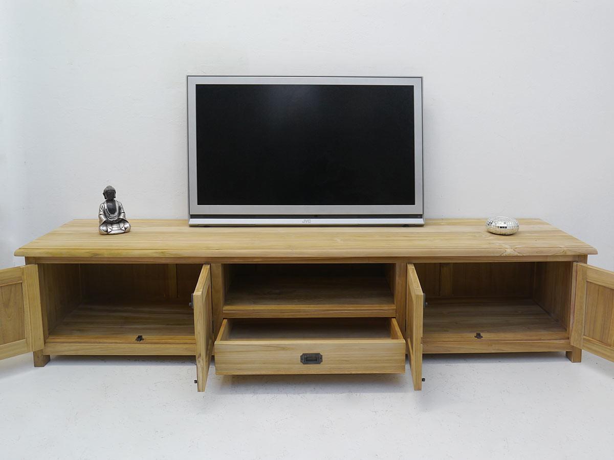 lowboard tv schrank mediterraner stil teak b 215 cm. Black Bedroom Furniture Sets. Home Design Ideas