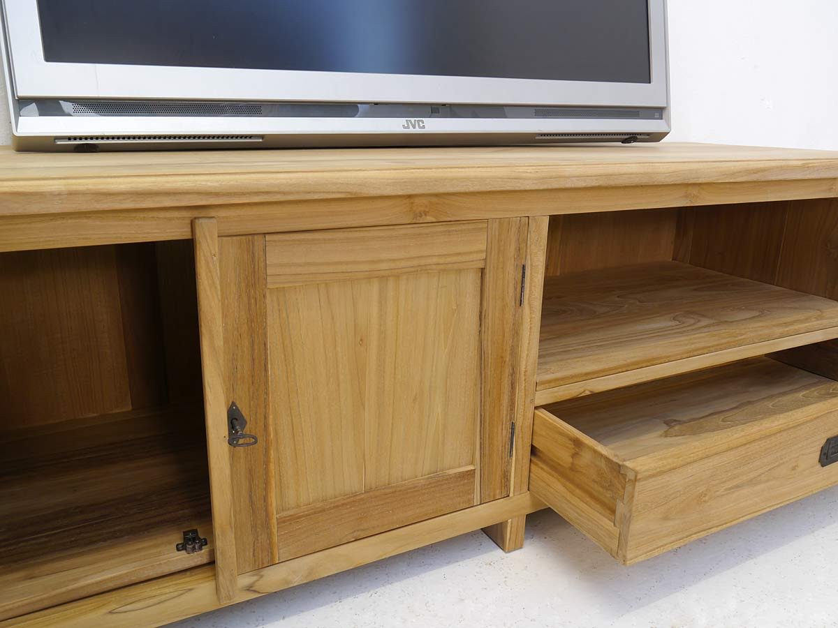 lowboard tv schrank fernsehtisch aus teakholz unbehandelt 160 cm breit 4994 ebay. Black Bedroom Furniture Sets. Home Design Ideas