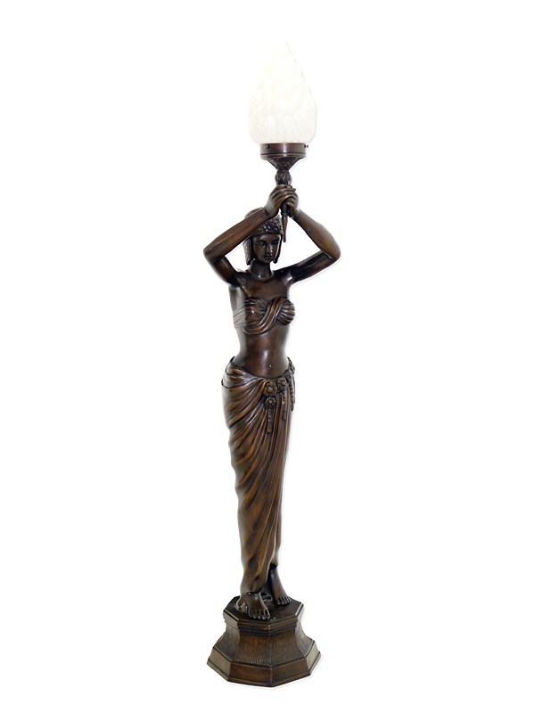 edle stehleuchte gyptische frau mit fackel bronze lampen stehlampen. Black Bedroom Furniture Sets. Home Design Ideas
