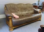 Gebrauchtes Sofa aus Eiche mit Lederbezug