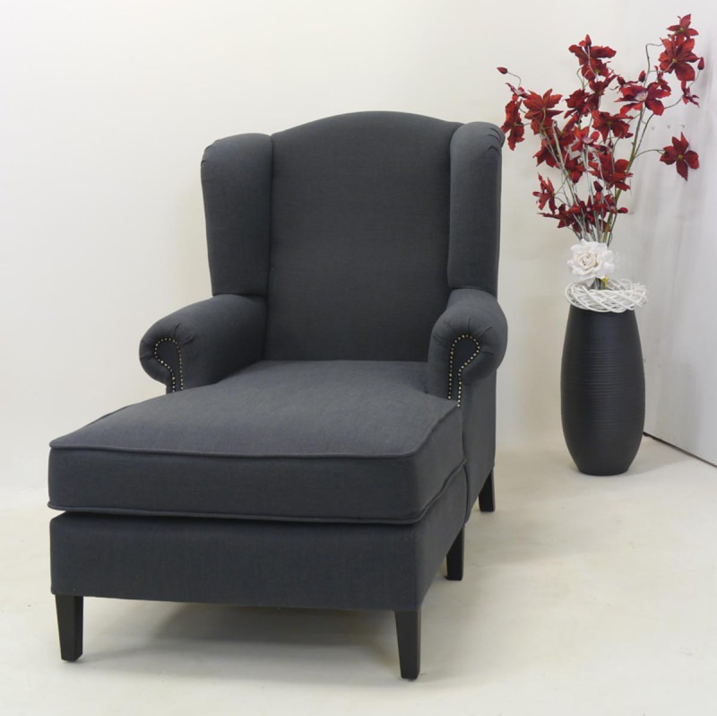 ohren liegesessel mit anthrazit farbenen texilbezug. Black Bedroom Furniture Sets. Home Design Ideas