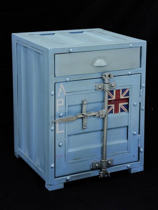 container schrank nachttisch kommode im industrielook. Black Bedroom Furniture Sets. Home Design Ideas