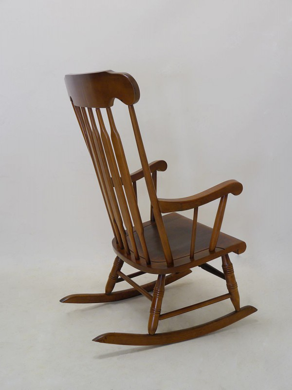 Stuhl schaukelstuhl relaxsessel nussbaum massiv 3040 ebay for Schaukelstuhl antik