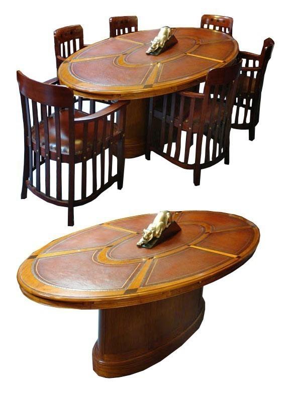 Konferenztisch Besprechungstisch Tisch Mahagoni Leder 6 Personen Tische Esstische