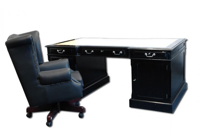 schreibtisch partnerdesk mahagoni schwarz mit echtlederbezug regale regalsysteme globe wernicke. Black Bedroom Furniture Sets. Home Design Ideas