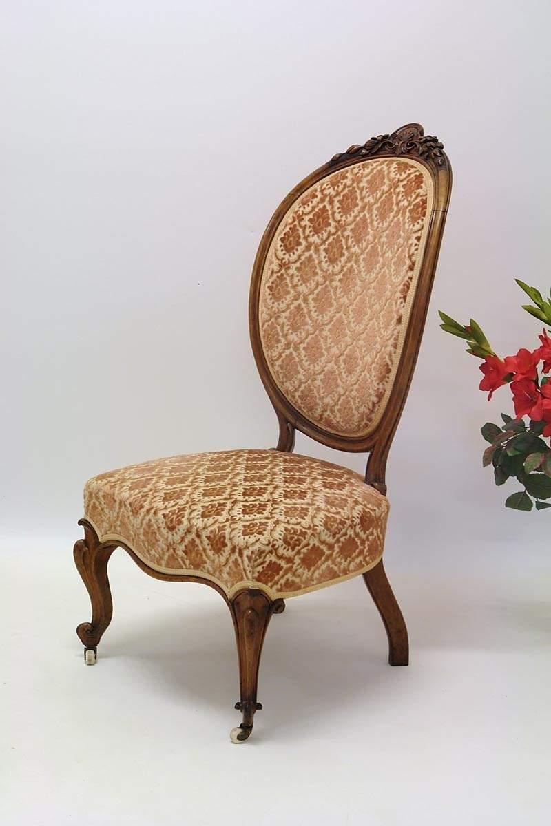 Stuhl sessel louis philippe nussbaum mit rosafarbenen for Stuhl sessel