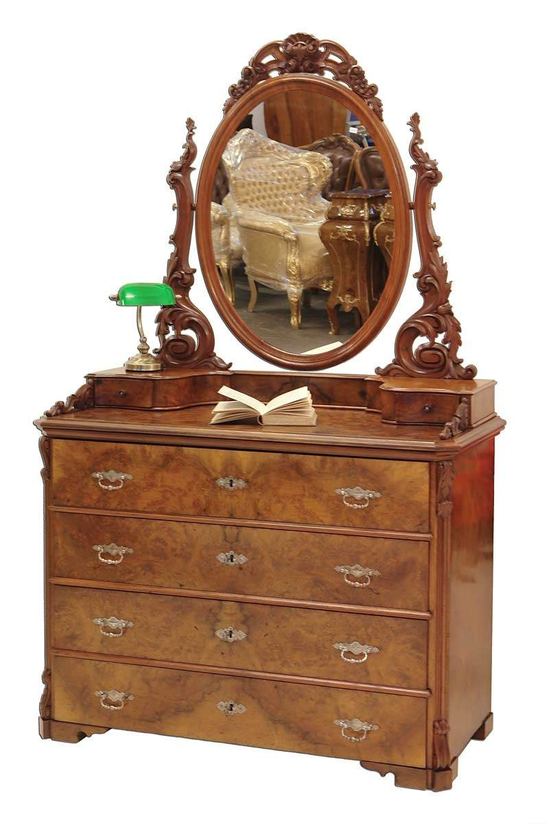 spiegelkommode schminkkommode schminktisch nussbaum louis. Black Bedroom Furniture Sets. Home Design Ideas