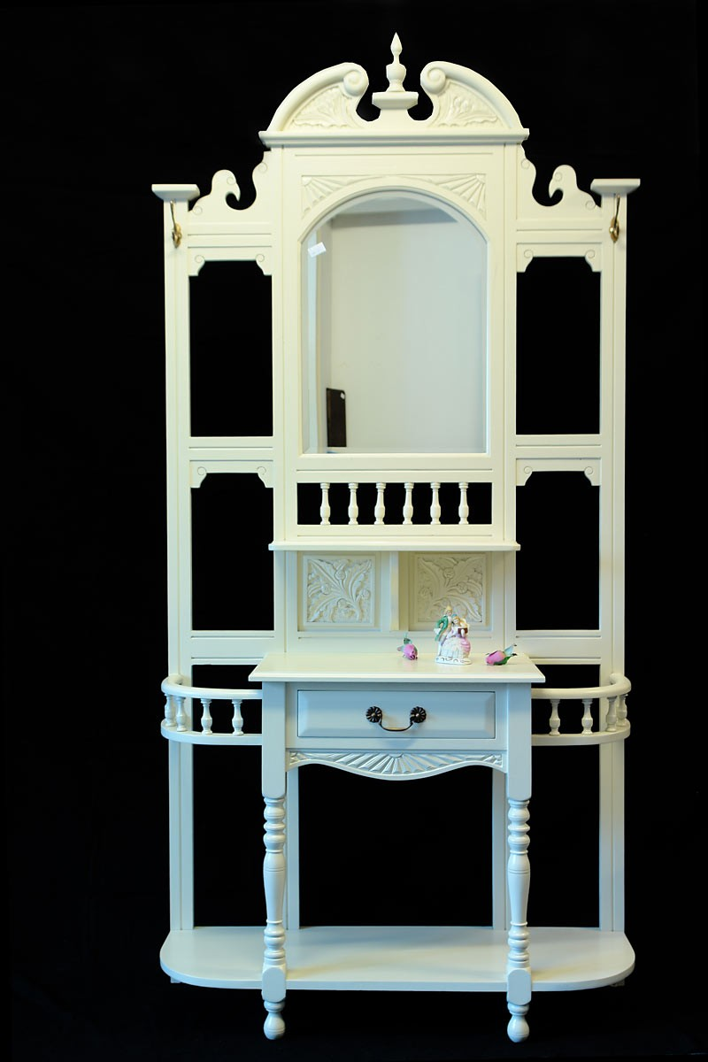 garderobe flurgarderobe wandgarderobe flur antik stil in creme wei 1154 ebay. Black Bedroom Furniture Sets. Home Design Ideas