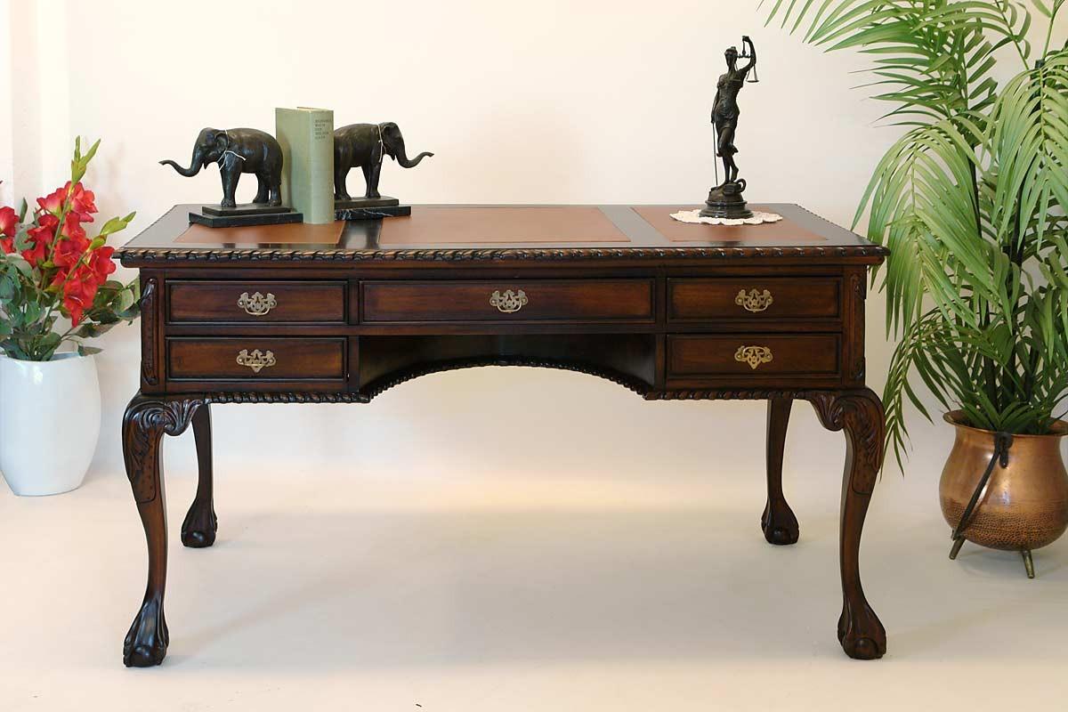 schreibtisch sekret r damenschreibtisch chippendale stil mahagoni 1315 ebay. Black Bedroom Furniture Sets. Home Design Ideas