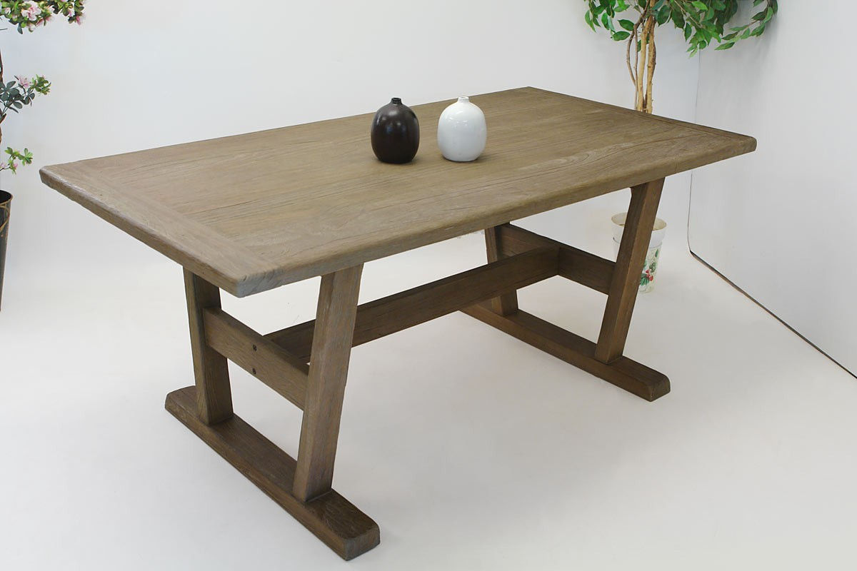 Tisch Esstisch 180 X 90 Massivholz Teak IM Eiche Look Gebürstet 1384