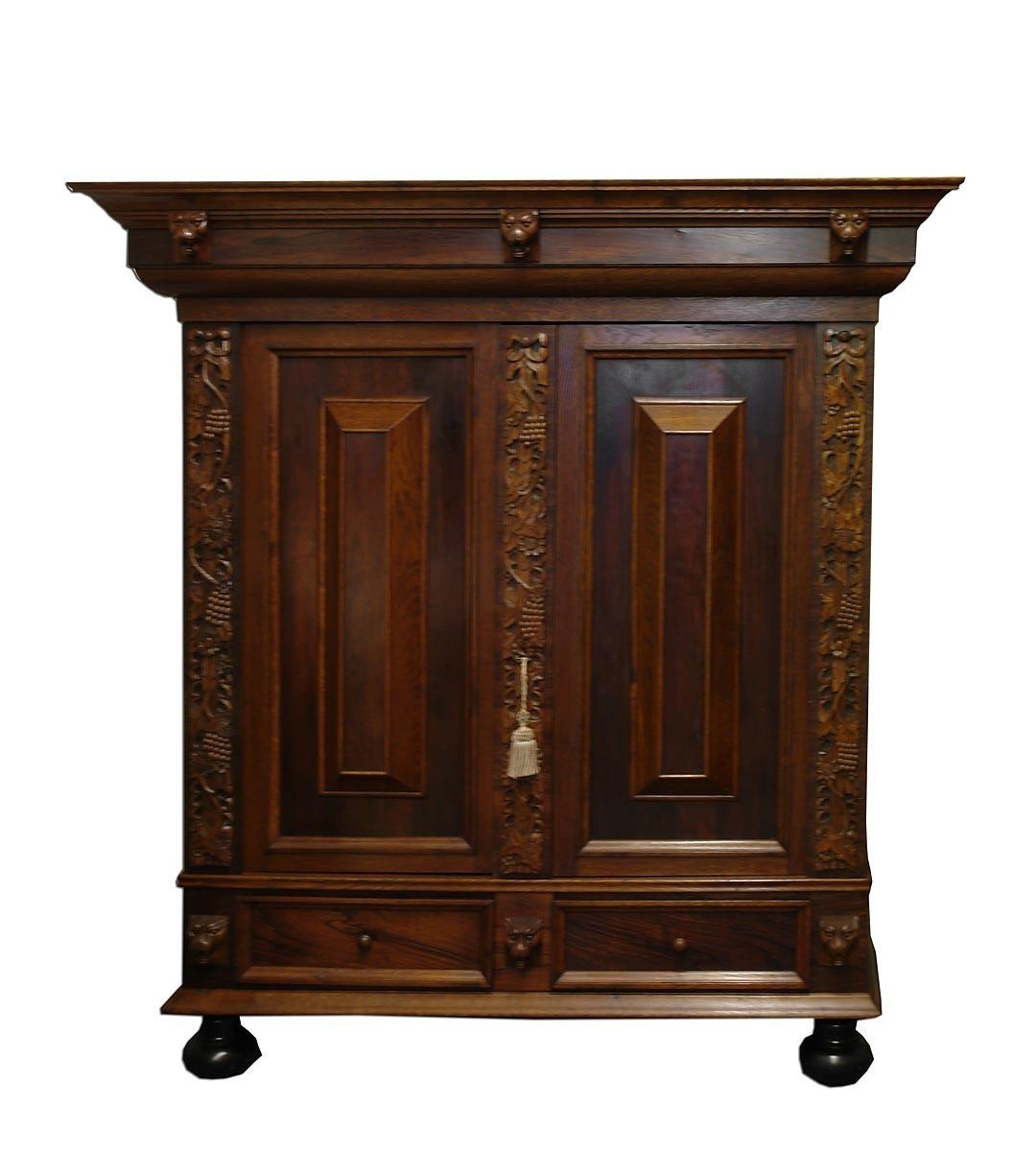 schrank kleiderschrank dielenschrank neo barock eiche furniert 1409 ebay. Black Bedroom Furniture Sets. Home Design Ideas
