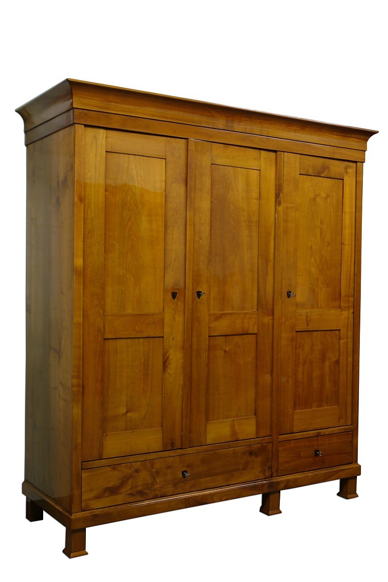 3 t riger kleiderschrank kirschbaum biedermeier 2 zeit. Black Bedroom Furniture Sets. Home Design Ideas