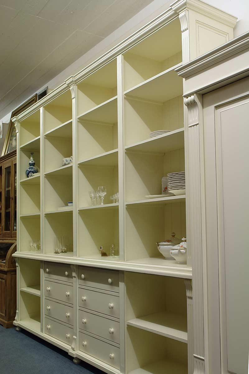 regal b cherregal regalwand weichholz cremewei in shabby. Black Bedroom Furniture Sets. Home Design Ideas