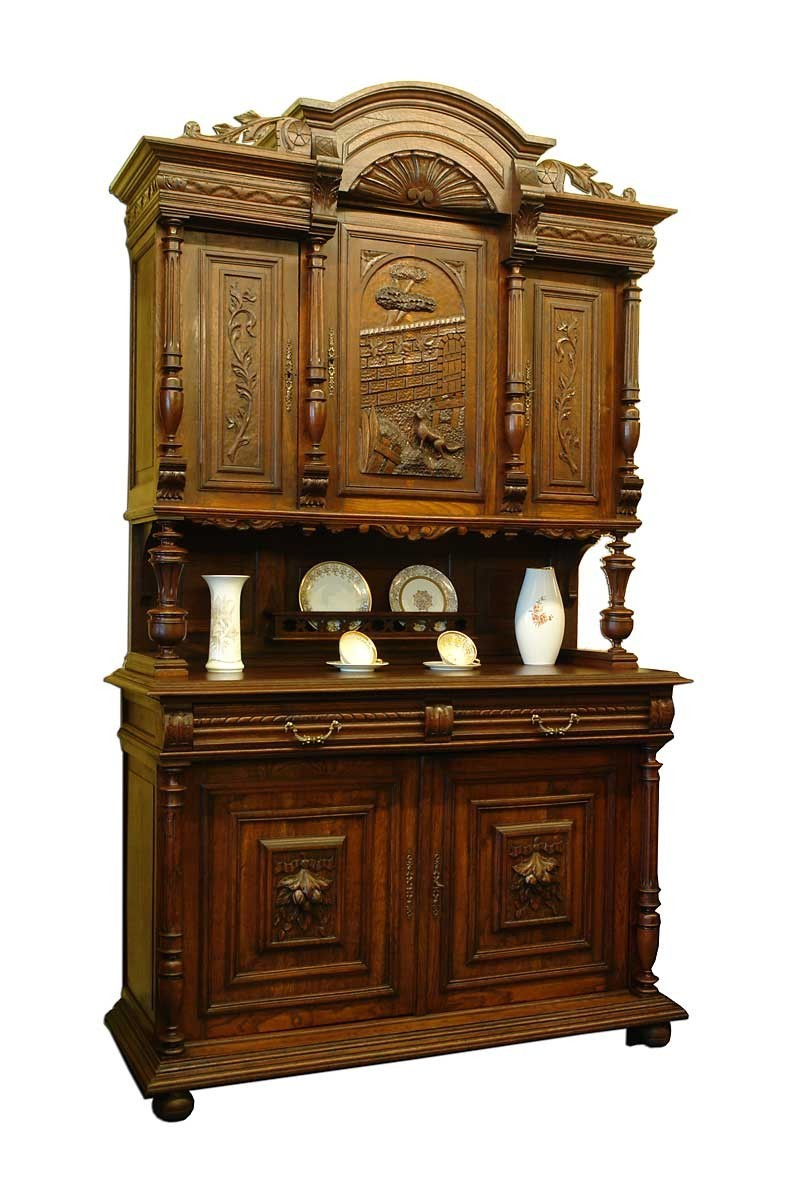buffet schrank gr nderzeit antik eiche massiv um 1890 1461 ebay. Black Bedroom Furniture Sets. Home Design Ideas