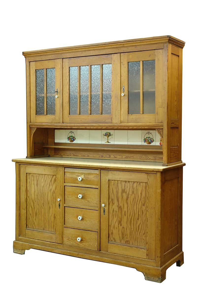 buffet schrank k chenschrank jugendstil um 1900 pitchpine. Black Bedroom Furniture Sets. Home Design Ideas