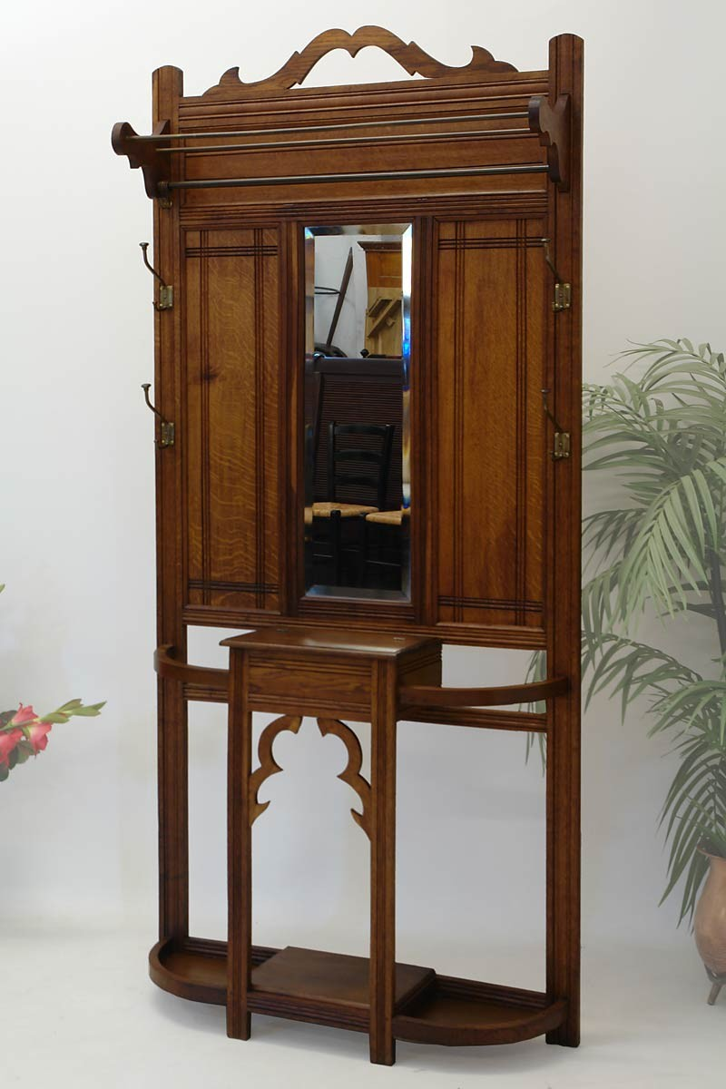 garderobe wandgarderobe flurgarderobe jugendstil um 1900 eiche massiv ebay. Black Bedroom Furniture Sets. Home Design Ideas