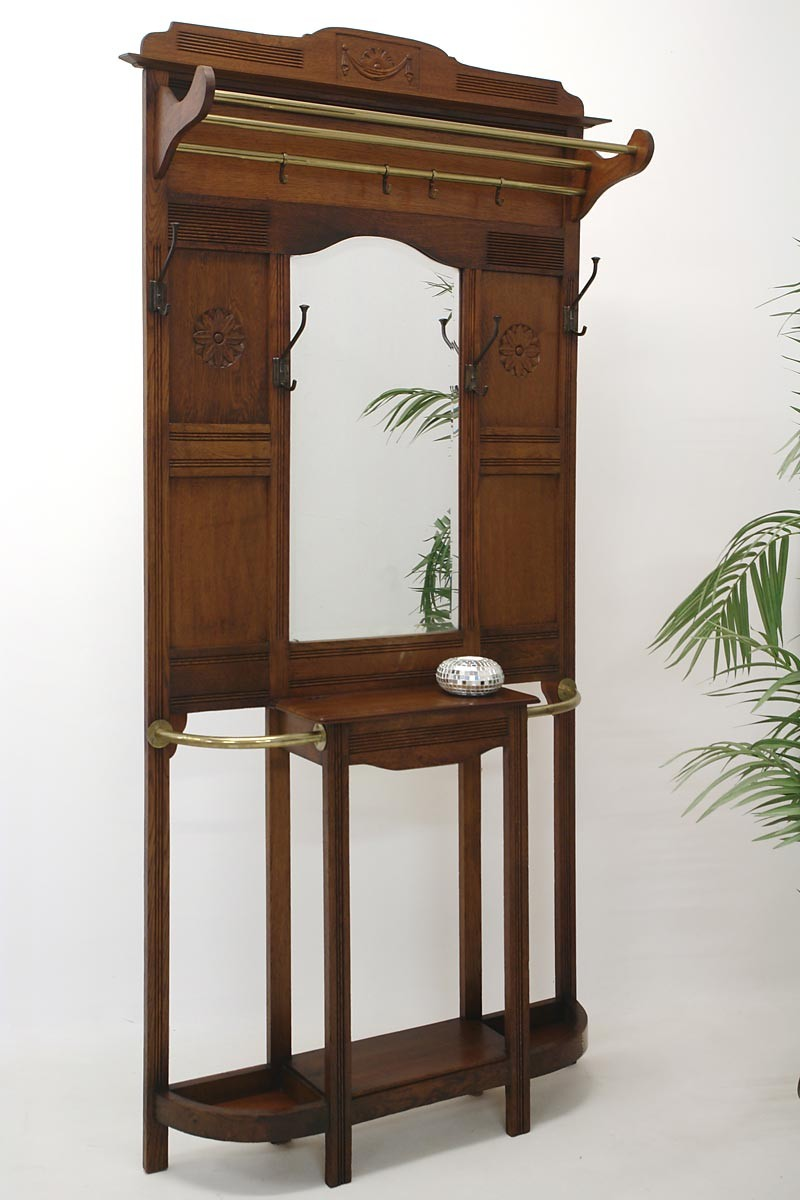 garderobe wandgarderobe flurgarderobe um 1920 eiche massiv 1703 ebay. Black Bedroom Furniture Sets. Home Design Ideas