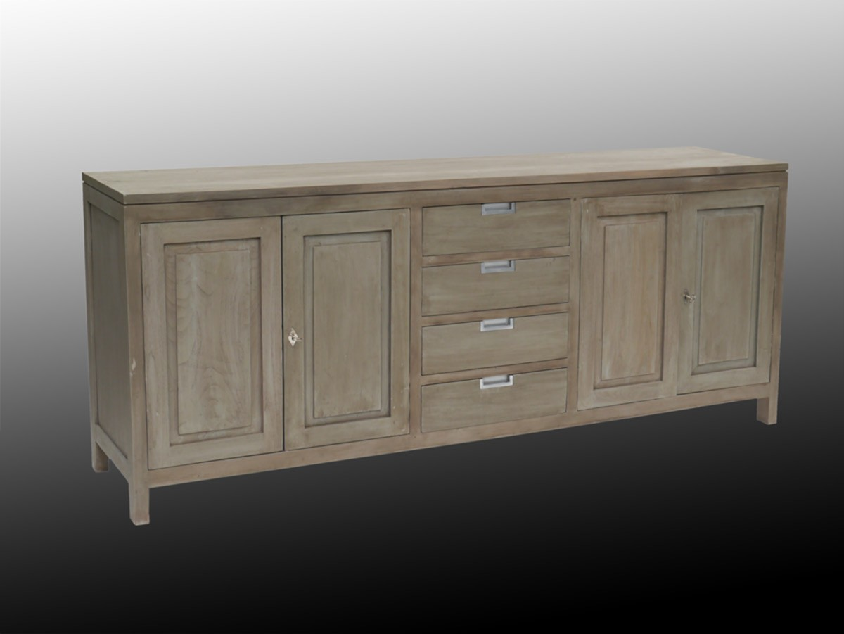 sideboard tv schrank aus teakholz massiv shabby grey ebay. Black Bedroom Furniture Sets. Home Design Ideas