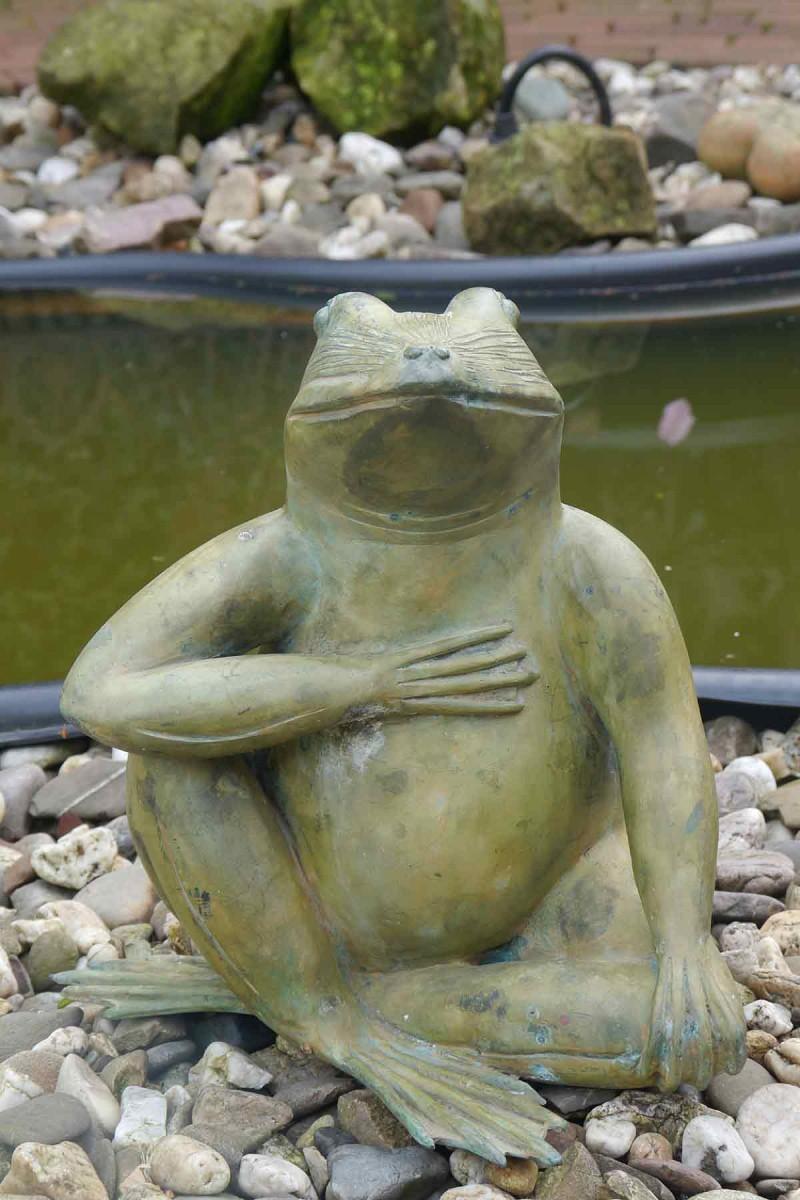 bronze skulptur figur gr ner frosch f r haus und garten dekoration 2035 ebay. Black Bedroom Furniture Sets. Home Design Ideas