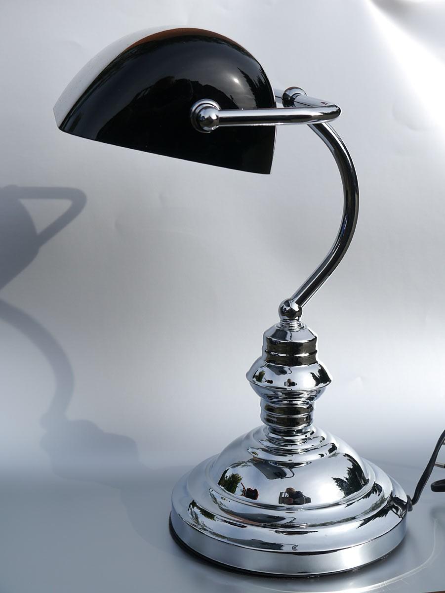 bankerlampe schreibtischlampe leuchte verchromt mit schwarzem glasschirm 2046 ebay. Black Bedroom Furniture Sets. Home Design Ideas