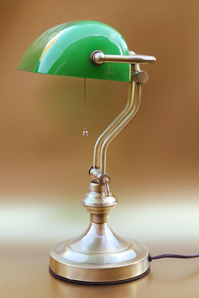 bankerlampe aus messing dunkel mit gr nem glasschirm lampen tischlampen. Black Bedroom Furniture Sets. Home Design Ideas