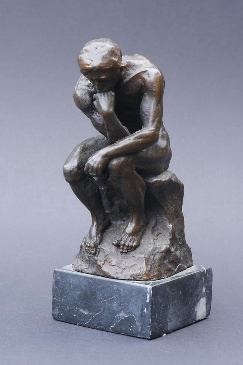 bronze figur der denker nach auguste rodin auf edlem marmorsockel 2223 ebay. Black Bedroom Furniture Sets. Home Design Ideas