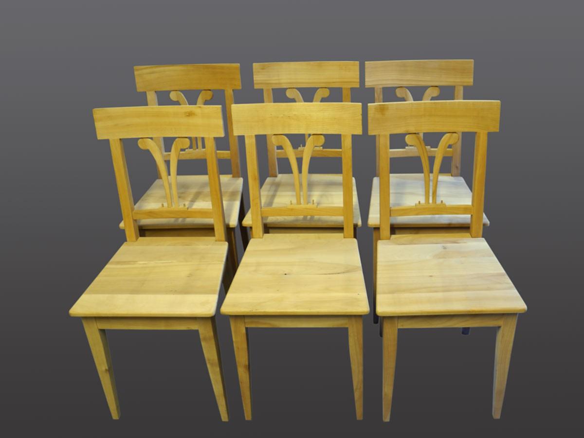 6 st hle stuhl stuhlgruppe kirschbaum massiv unbehandelt biedermeier stil 2229 ebay. Black Bedroom Furniture Sets. Home Design Ideas