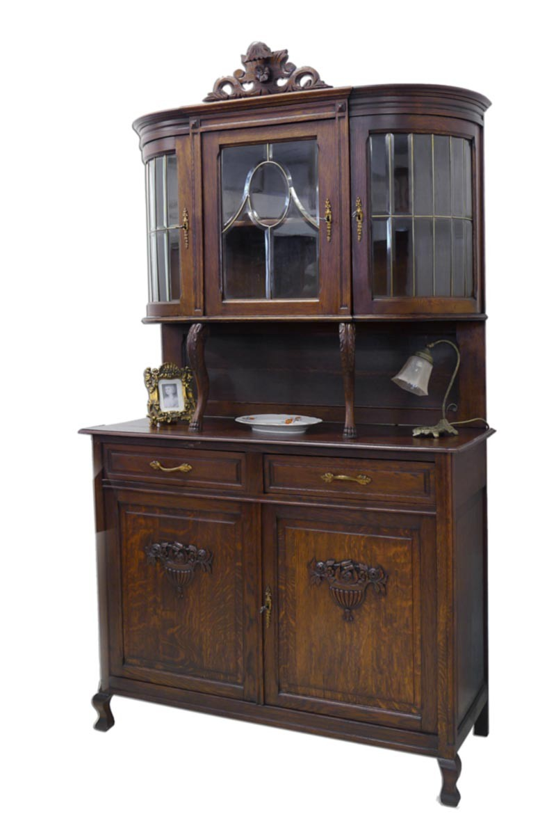 buffetschrank buffet schrank jugendstil um 1900 eiche massiv 2235 ebay. Black Bedroom Furniture Sets. Home Design Ideas