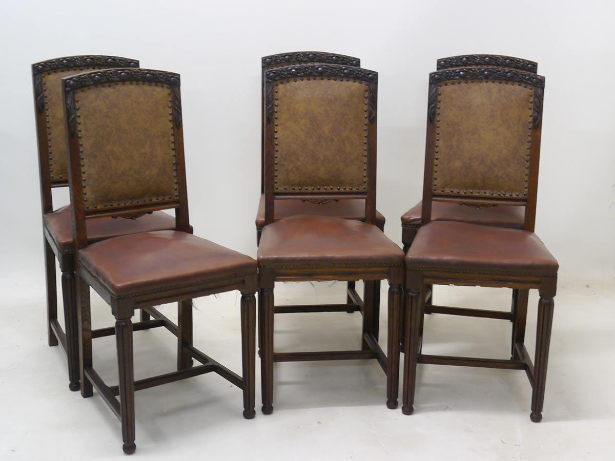 6 st hle stuhlgruppe art deco eiche massiv 2281 ebay. Black Bedroom Furniture Sets. Home Design Ideas