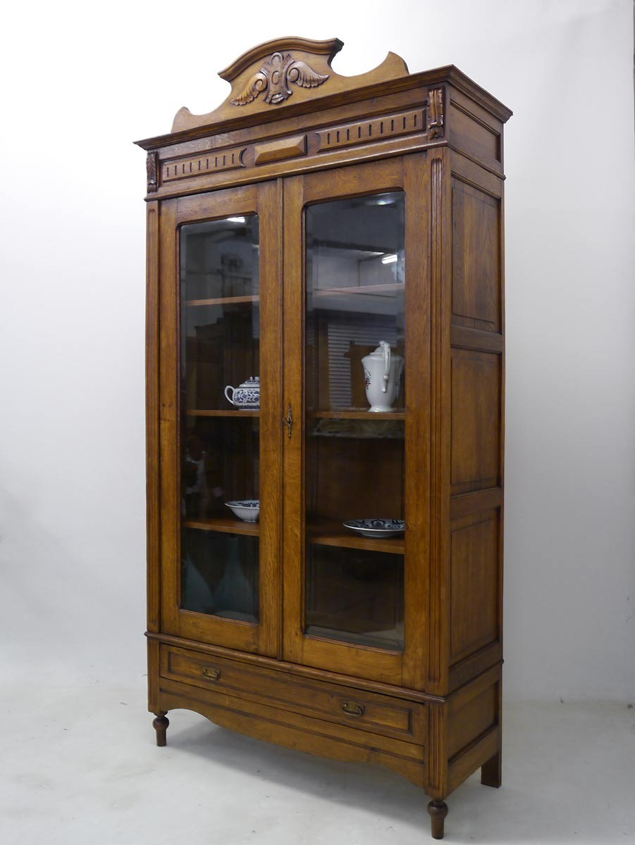 vitrine vitrinenschrank schrank gr nderzeit um 1880 eiche massiv 2284 ebay. Black Bedroom Furniture Sets. Home Design Ideas