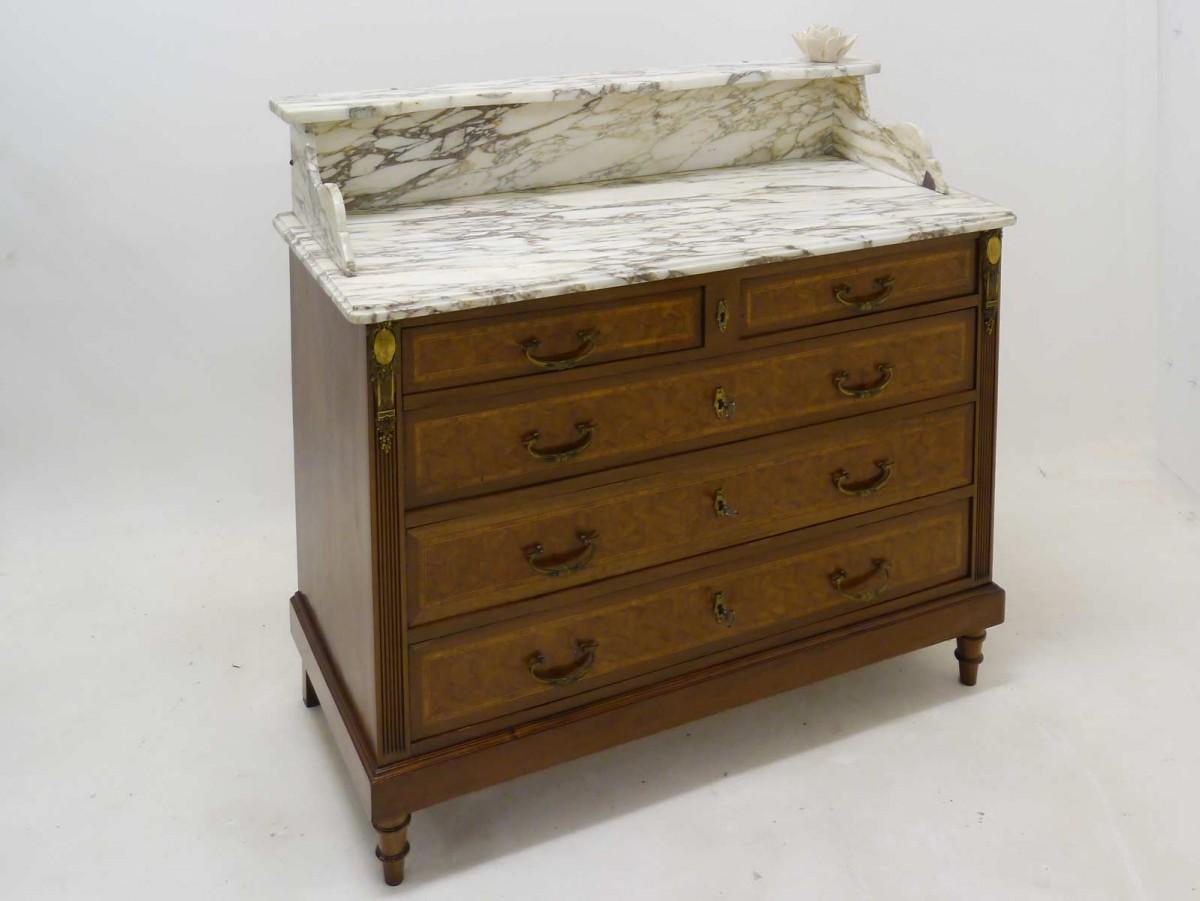 Kommode-Louis-Seize-Stil-um-1900-Mahagoni-furniert-mit-Marmorplatte ...
