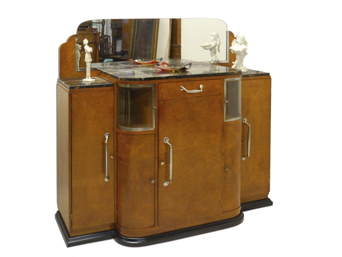 anrichte sideboard schrank art deco um 1930 vogelaugenahorn furniert 2327 ebay. Black Bedroom Furniture Sets. Home Design Ideas