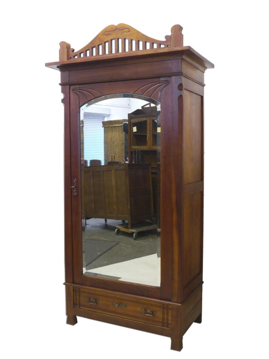 kleiderschrank schrank dielenschrank jugendstil um 1900 mahagoni 2334 ebay. Black Bedroom Furniture Sets. Home Design Ideas