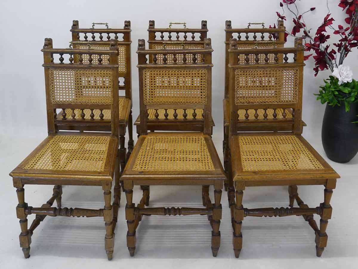 st hle stuhl stuhlgruppe gr nderzeit um 1880 eiche mit geflechteinsatz 2396 ebay. Black Bedroom Furniture Sets. Home Design Ideas