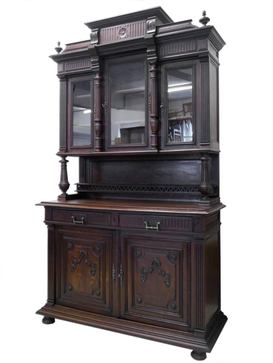 buffet schrank k chenschrank gr nderzeit um 1880 eiche. Black Bedroom Furniture Sets. Home Design Ideas