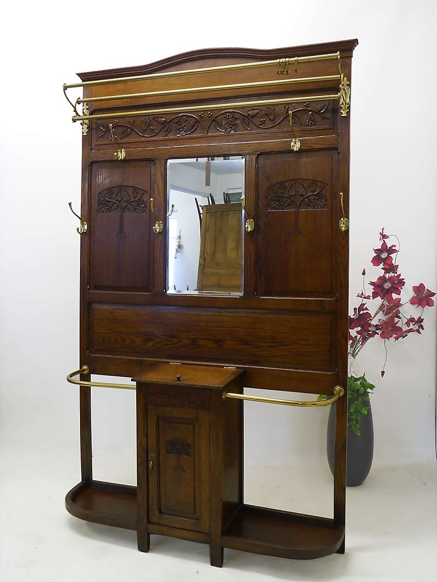 garderobe flurgarderobe jugendstil um 1900 eiche massiv 2488 ebay. Black Bedroom Furniture Sets. Home Design Ideas