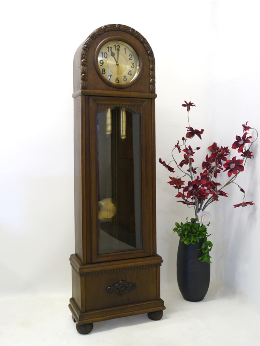 uhr standuhr wanduhr antik art deco um 1920 aus eiche 2492 ebay. Black Bedroom Furniture Sets. Home Design Ideas