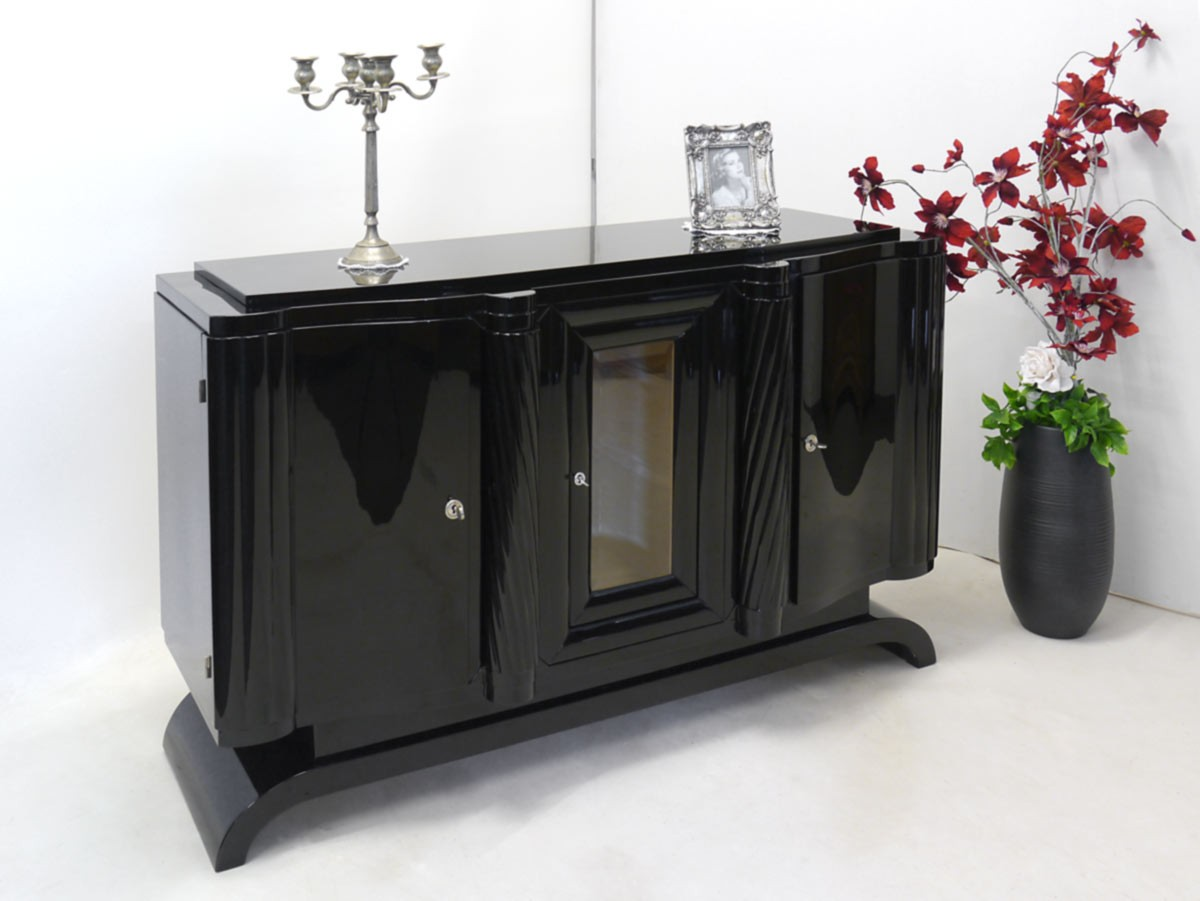 sideboard anrichte schrank art deco um 1920 franz sisch schwarz hochglanz 2495 ebay. Black Bedroom Furniture Sets. Home Design Ideas