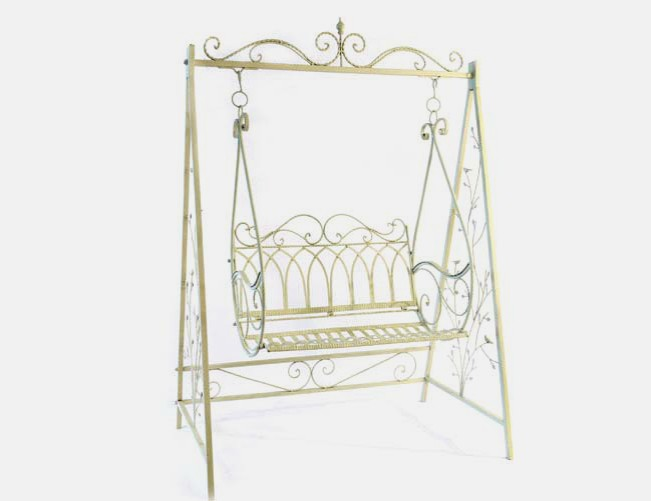 schaukel gartenschaukel gartenm bel gusseisen cremewei antik stil 2530 ebay. Black Bedroom Furniture Sets. Home Design Ideas