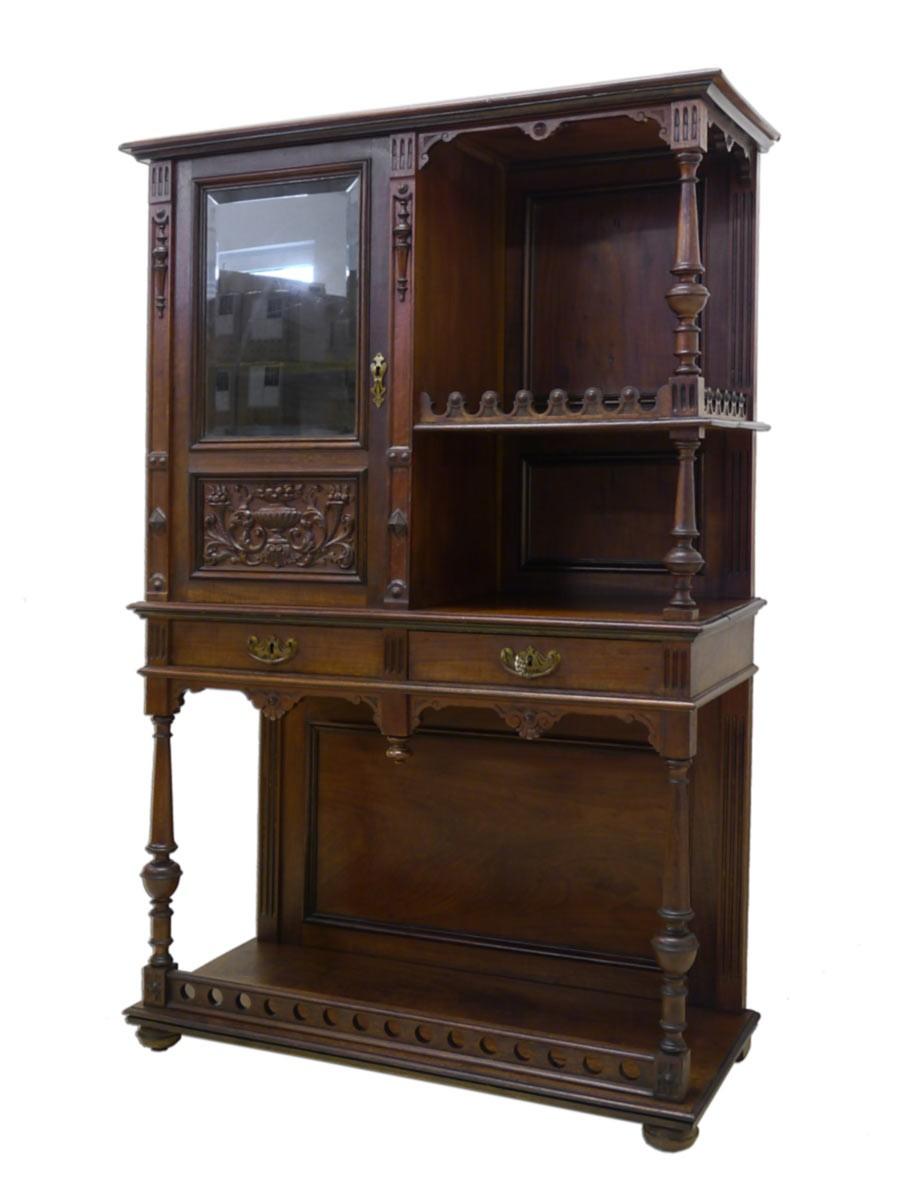 vitrine schrank etagerenschrank antik gr nderzeit um 1880 eiche 2538 ebay. Black Bedroom Furniture Sets. Home Design Ideas