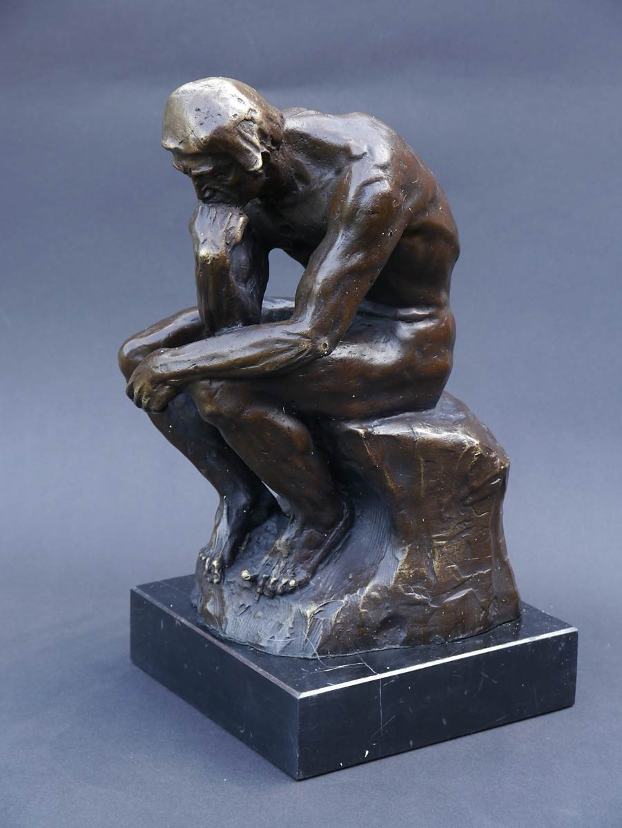 bronze figur der denker nach auguste rodin h 30 cm figuren menschenfiguren. Black Bedroom Furniture Sets. Home Design Ideas