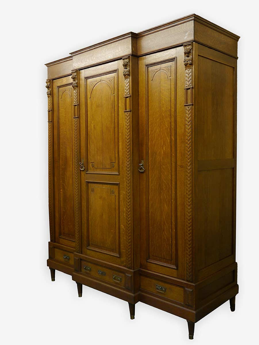 schrank kleiderschrank dielenschrank historismus um 1900 eiche 2605 ebay. Black Bedroom Furniture Sets. Home Design Ideas