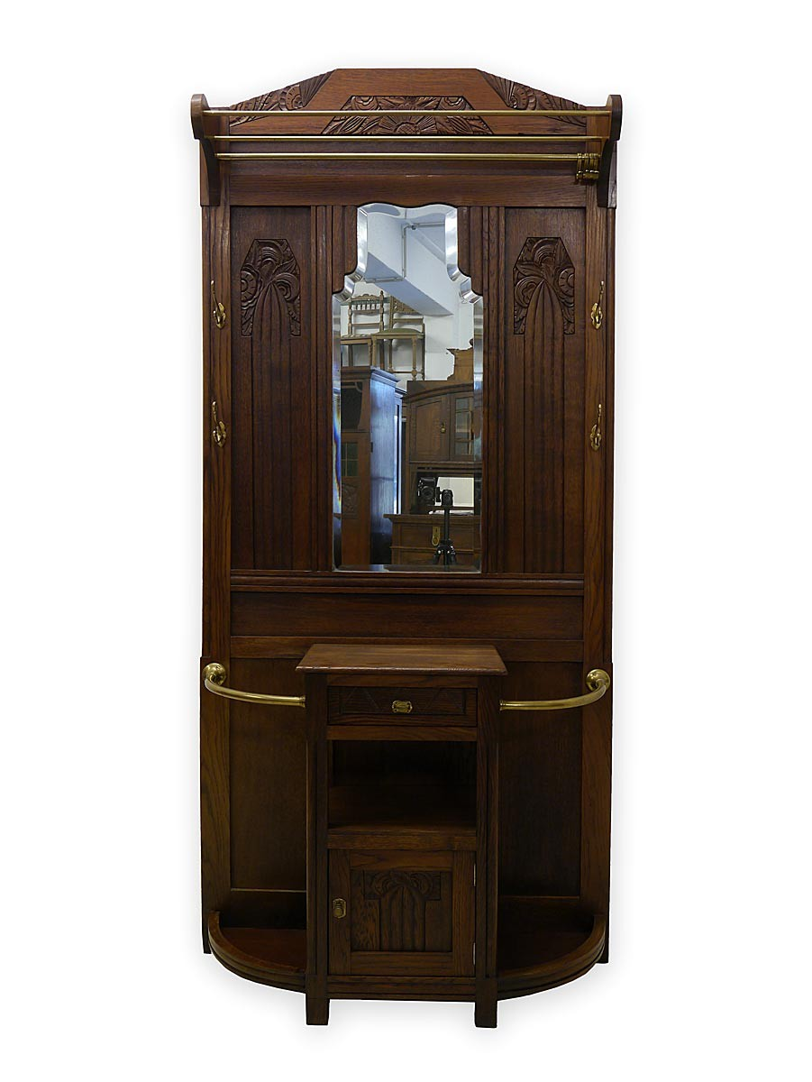 garderobe wandgarderobe dielenm bel art deco um 1920 eiche. Black Bedroom Furniture Sets. Home Design Ideas