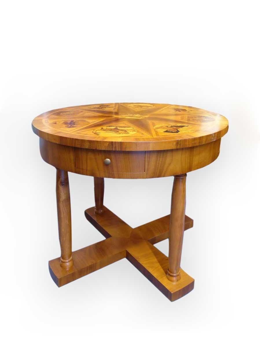 Tisch Salontisch Jagdtisch rund mit wunderschönen ...