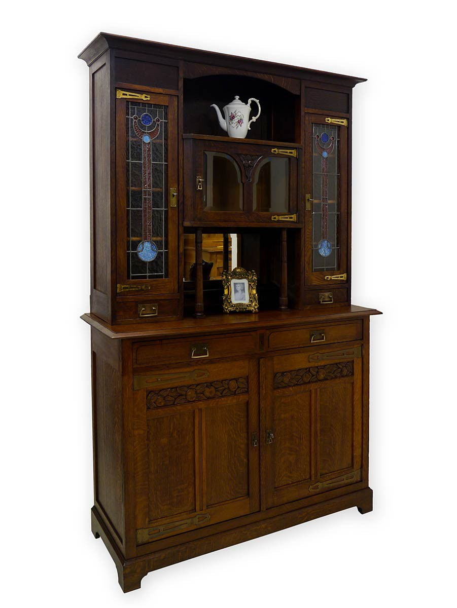 buffet buffetschrank k chenschrank jugendstil um 1900 eiche massiv 2754 ebay. Black Bedroom Furniture Sets. Home Design Ideas