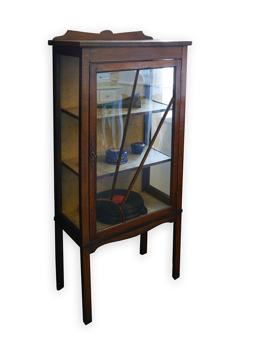 vitrine schrank vitrinenschrank antik jugendstil um 1900 eiche 2829 ebay. Black Bedroom Furniture Sets. Home Design Ideas