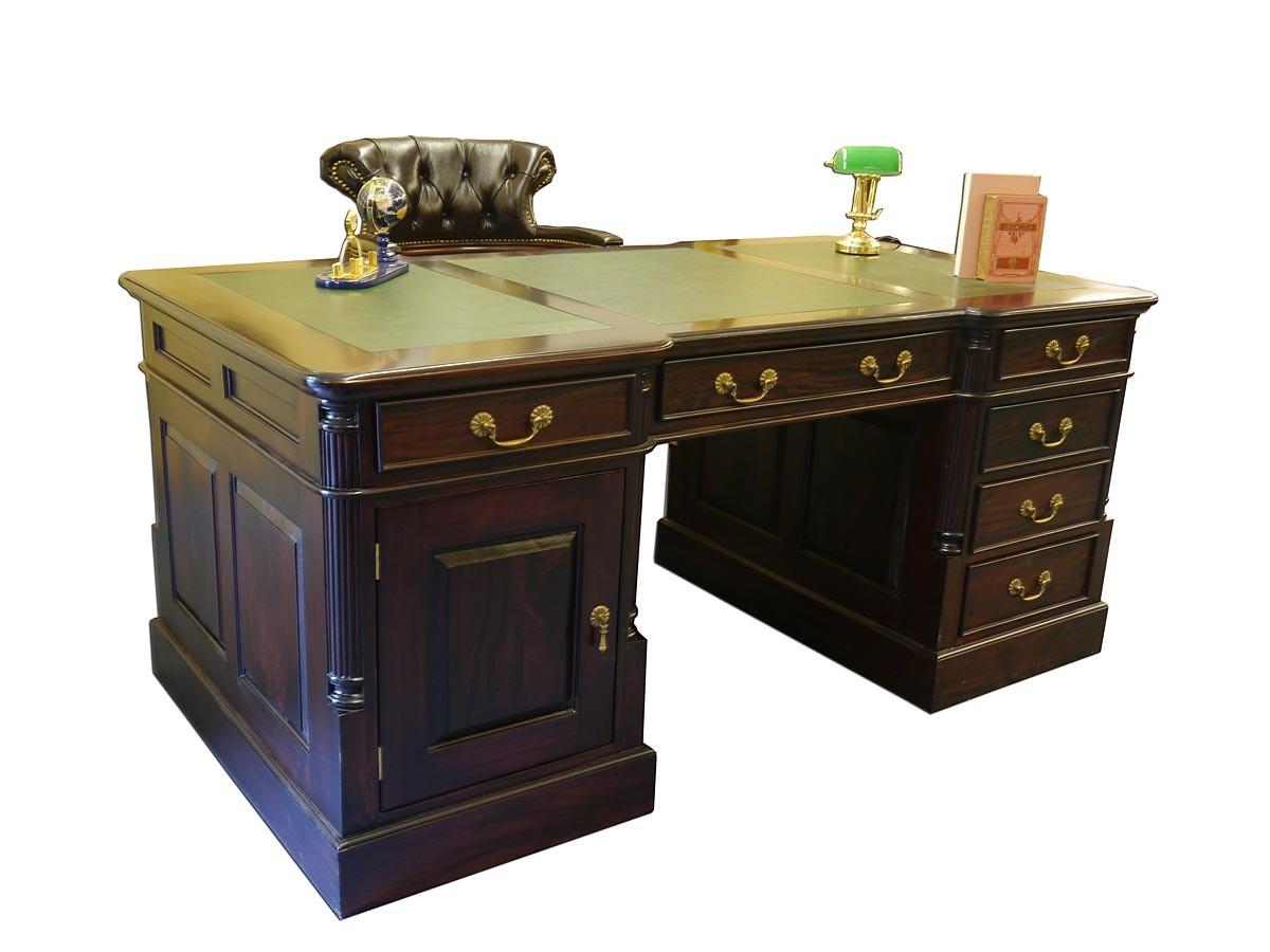 schreibtisch partnerdesk b rom bel aus massivholz mit echtlederauflage 2909 ebay. Black Bedroom Furniture Sets. Home Design Ideas