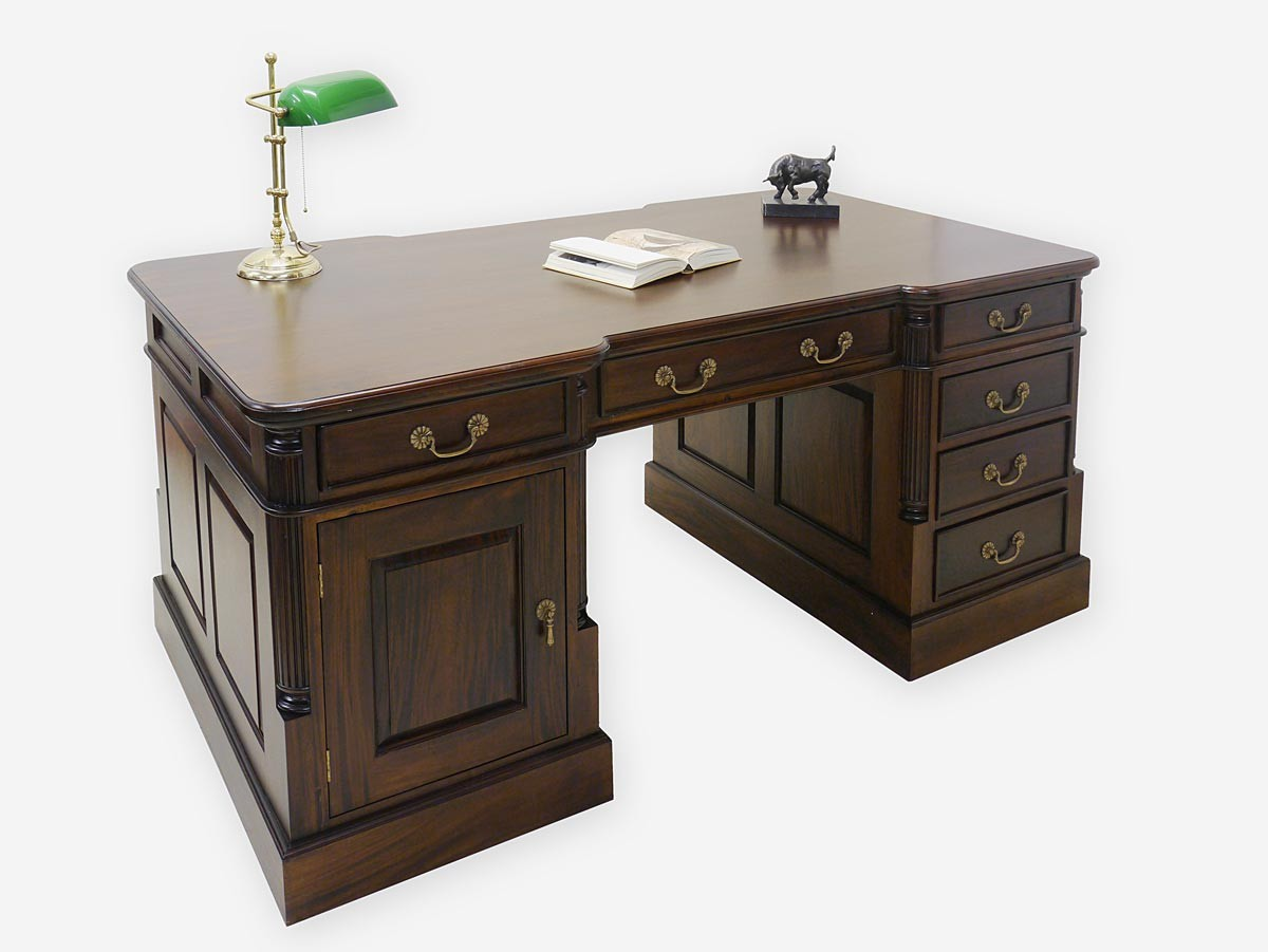 schreibtisch partnerdesk b rom bel antik stil nussbaum farbton massiv 2914 ebay. Black Bedroom Furniture Sets. Home Design Ideas