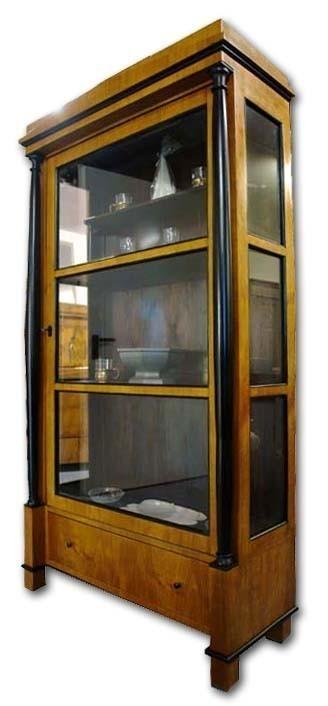 Vitrine schrank kirschbaum biedermeier antik stil 296 ebay for Kirschbaum vitrine